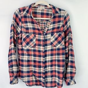 Anthropologie Skies are Blue Plaid Button Down Top